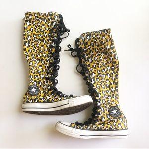 Converse Chuck Taylor knee high leopard print Sz 6
